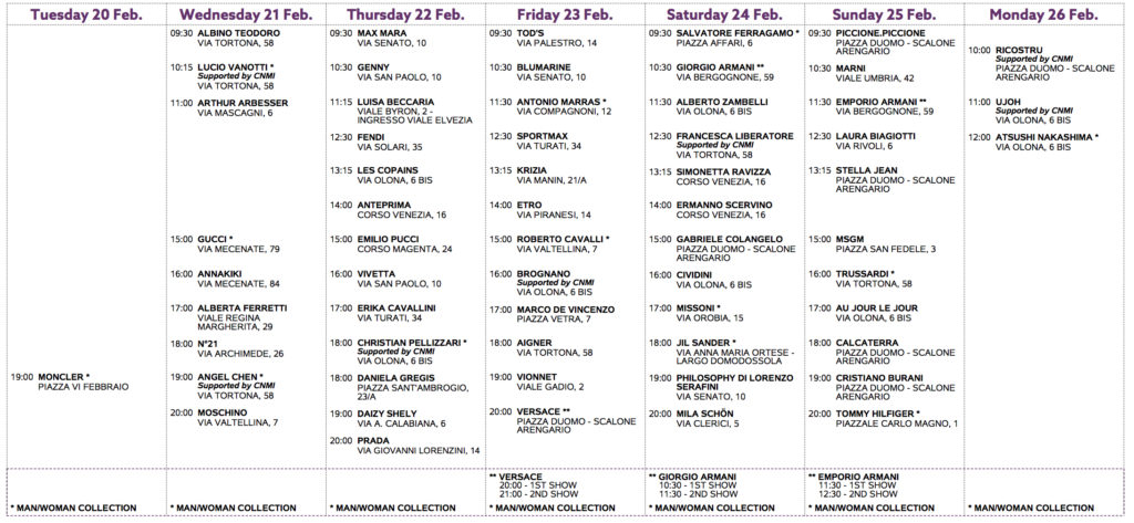 Milan Fashion Week schedule