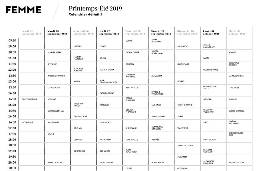 paris fashion week schedule