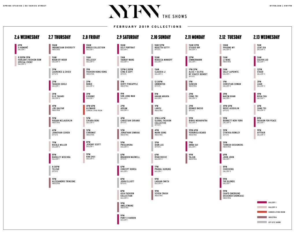 nyfw schedule